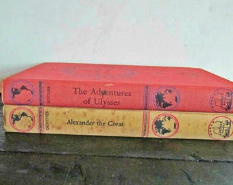 Set of Two, Mid Century Books, Landmark Edition, Ulysses and Alexander the Great, Shelf Decor, Hard Cover, Illustrated