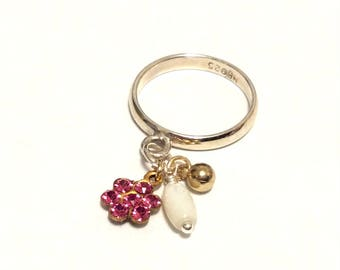 Pink Flower - Sterling Silver Charm Dangle Ring - October Birthday Gift