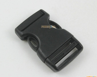 5 Pieces 25mm Black Plastic Side Quick Release Buckle Clip for Backpack Bag (YRSLCK25-1)