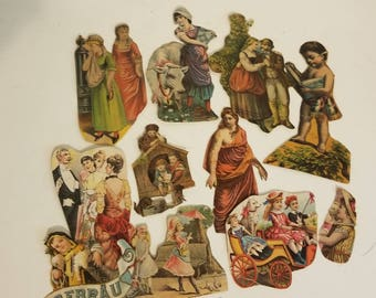11 pc Victorian scrap newspaper magazine clippings women children antique cut outs illustrations paper art supplies vintage ephemera V40