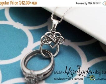SUMMER SALE AloraLocks Wide Celtic Infinity Love Heart  Knot  Wedding / Engagement Ring & Charm Holder Pendant