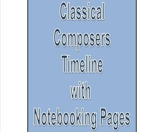 Classical Composers Timeline and Notebooking pages Study