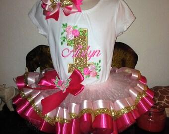 Custom made Gold pink  tutu set