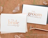 ROSE GOLD FOIL Wedding Card to Your Bride or Groom To My On Our Wedding Day Cards Keepsake First Look Love Notes Foiled Vows (Set of 2) CS08