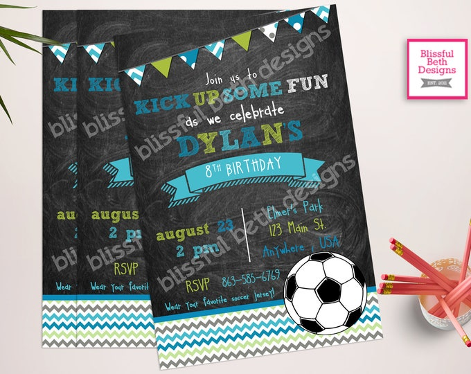 SOCCER BIRTHDAY INVITATION Chalkboard Soccer Birthday Invitation, Printable Soccer Birthday Invitation, Soccer Birthday Invite, Soccer