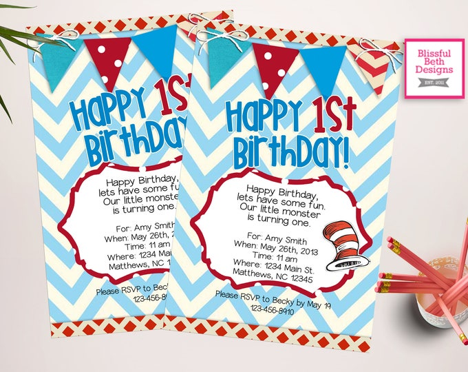 SEUSS BIRTHDAY INVITATION Dr. Seuss Red and Blue Birthday Invitation, Printable Dr. Seuss Birthday Invitation, Seuss First Birthday Invite