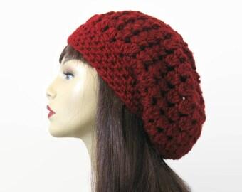Maroon slouch beanie Dark Red Popcorn Slouchy Hat Maroon Puff Stitch beanie Knit Beret Dark Red Beanie Maroon slouch beret Red Slouchy Tam .