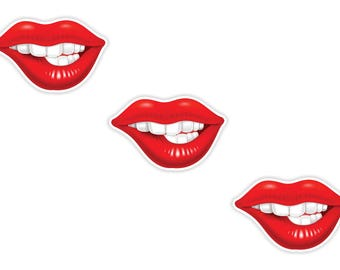 Girl Lips 3x Stickers Vintage Sexy 2.5x4cm  (1 x 1.6inches) for Laptop Tablet Helmet Motorcycle Bumper