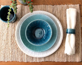 RESERVED for Heidi and Michael's Registry - Handmade Dinnerware - Dinner, Salad Plate, DEEP BOWL - 3 Piece Set - Made to Order