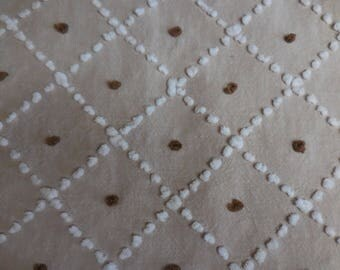"""Mocha Brown with Handmade White Diamond Pop Designs and CHOCOLATE Brown Pop Centers Vintage Chenille Bedspread Fabric - 19"""" X 31"""" - #1"""