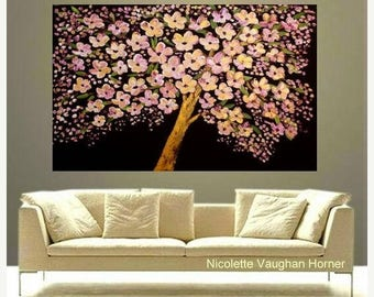 "SALE 48"" Oil Landscape Abstract Original Modern palette knife "" Tree Of Hope"" oil  impasto oil painting by Nicolette Vaughan Horner"