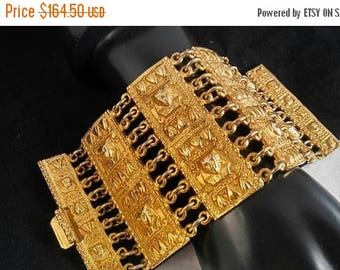 On Sale 3 Inch Wide Egyptian Revival  King Tut Style Cuff Bracelet - 7.5 Inches Long - Huge Statement Runway Jewelry