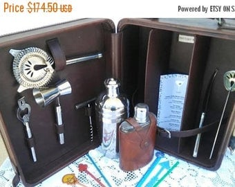 Now On Sale Vintage Leather Portable Pub Travel Bar-  Trav-L-Bar Retro Cool Barware Set - Executive Gift -  Man Cave Home Decor