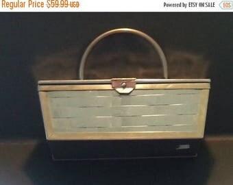 Now On Sale Vintage Silver Box Purse, Basket Weave Handbag, Collectible Rockabilly Style Bag, Mid Century Accessory, Silver Metal Purse