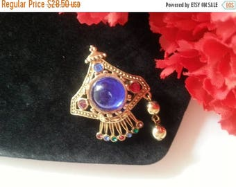 Now On Sale Blue Rhinestone Brooch, Very Unique Pin, 1970's 1980's Vintage Accessories, Vintage Jewelry