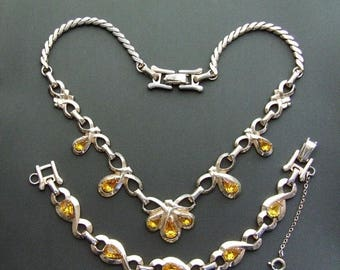 ON SALE Vintage Designer Signed Barclay Rhinestone Necklace Bracelet 1950's Set, Demi Parure Collectible Jewelry