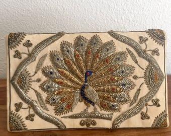 Stunning Zari Zardozi Embroidered Silk Velvet Peacock Clutch
