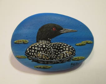 Loon hand painted on a rock by Ann Kelly - miniature