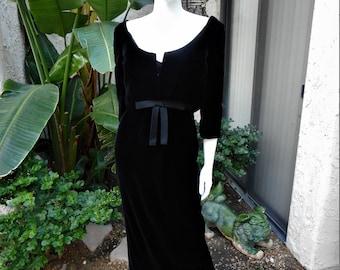 Vintage 1960's Black Velvet Evening Dress with Matching Jacket - Size 6