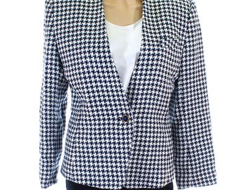 Vintage 80s St Michael Navy Houndstooth Wool Boucle Jacket UK 12 US 10