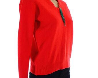Vintage 70s Red Wool V Neck Jumper UK 12 US 10