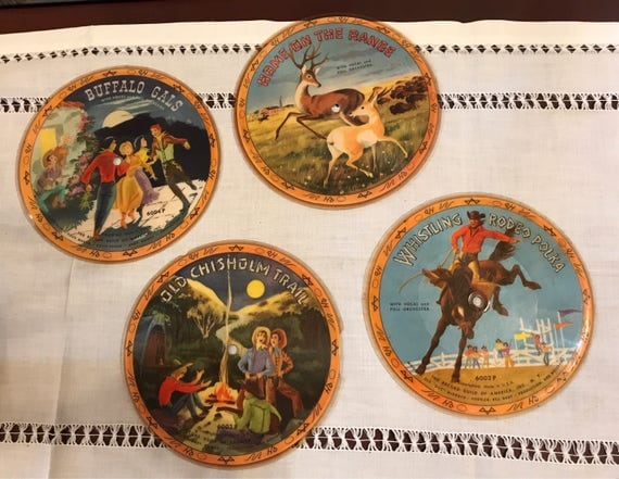 Four Cowboy Western themed Childrens Vinyl Records for Wall Decor
