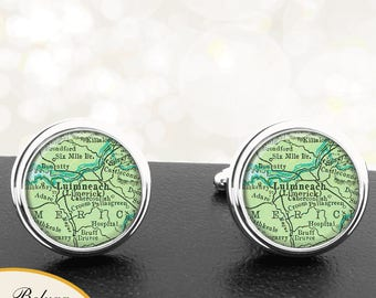 Map Cufflinks Limerick Ireland Handmade Cuff Links Irish City Maps Groomsmen Weddings Fathers Dads