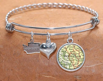 Bellingham WA Map Charm Bracelet State of Washington Bangle Cuff Bracelet Vintage Map Jewelry Stainless Steel Bracelet