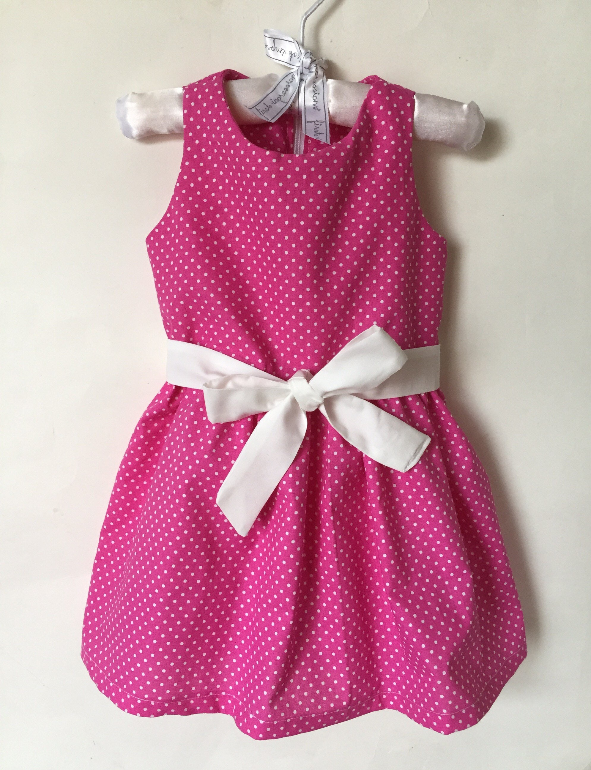 Handmade baby girl dress polka dot hot pink dress summer baby