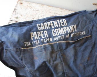 Vintage Lumber Apron Money Carrier Michigan Denim Navy Blue Paper Company Carpenter The Fine Paper House