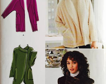 Simplicity D0529/8218, Size X Small, Small, Medium, Large, X Large, Misses' Jackets with Length and Fabric Variations and Fur Vest Pattern