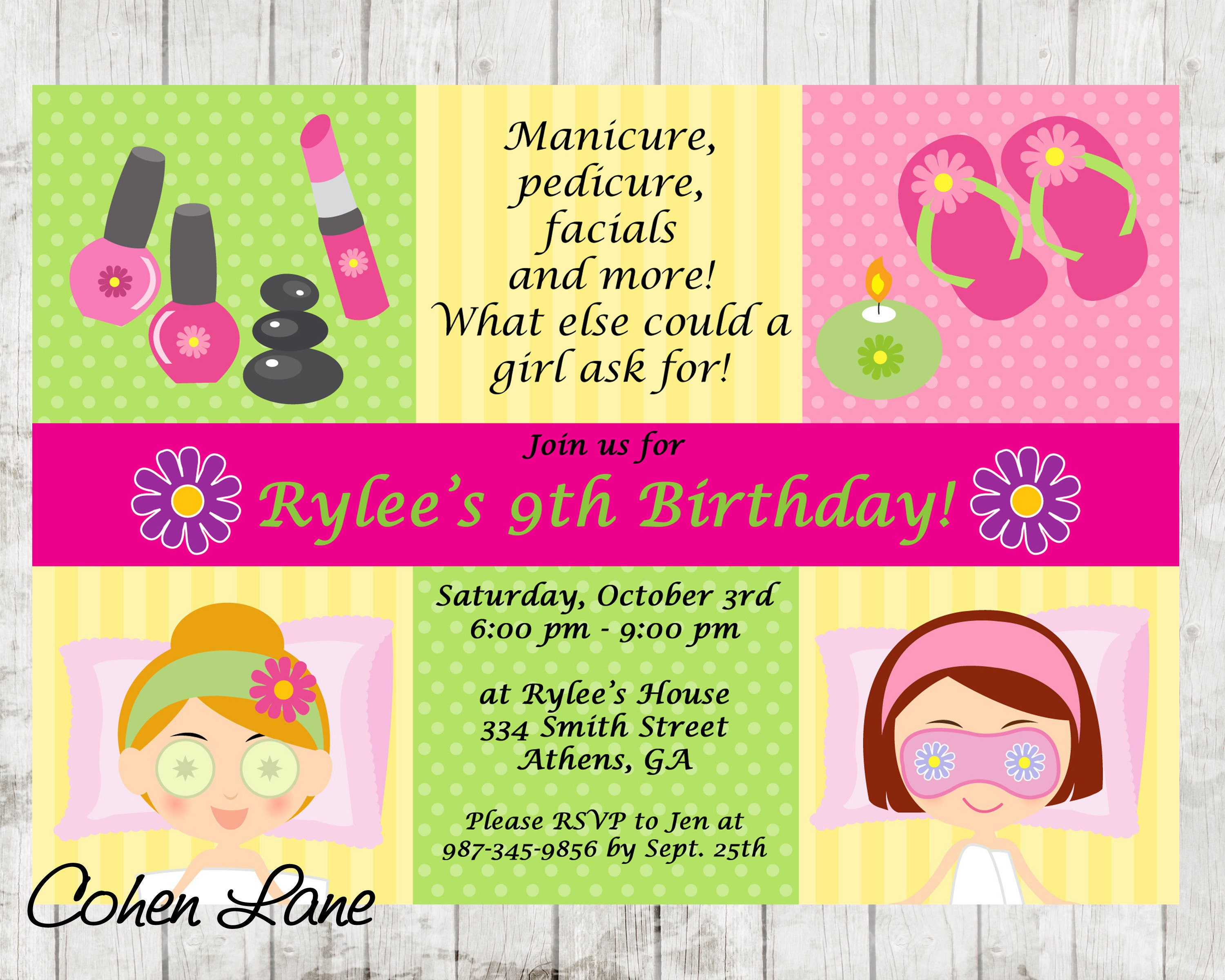Spa Sleepover Party Invitations gender reveal party invitation – Spa Slumber Party Invitations