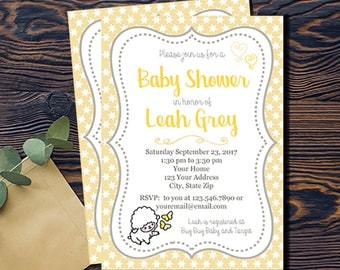 Little Lamb Baby Shower Invitation-DIGITAL INVITATION-Printable Invite Card - Baby Lamb Shower Card - Grey Yellow White Stars