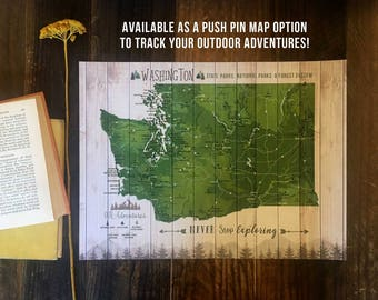 Washington State Park, State Wall Art, State Parks map, Washington State Art, Pacific NorthWest, Gift for Campers Hikers, Personalized map