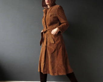 70s Rust Tan Brown Hooded Suede Jacket Coat Small