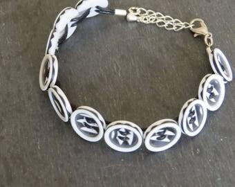 black and white button bracelet