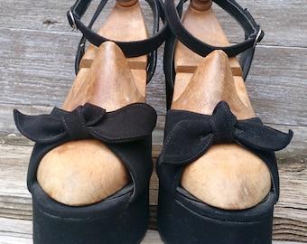 Vintage 1970s Black Suede Platform Shoes w Ankle Wrap Strap