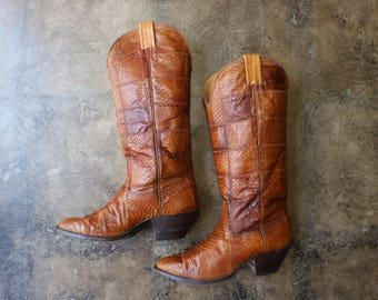 Size 9 Reptile Cowboy Boots / Brown Tall Western Boots / Vintage Leather Shoes