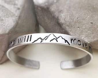 Inspirational Cuff Bracelet She Will Move Mountains Motivational Mountain Theme Nature Gift for Her