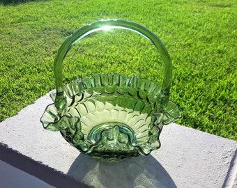 Fenton Colonial Green Thumbprint Glass Handled Basket Double Crimped Rim Retro Mid Century Decor