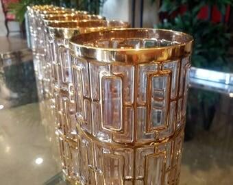 22K Gold Sohji Trellis Glasses By Imperial HiBalls Mid Century Living Fabulous Wedding Gift Set of 8