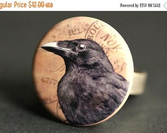 SUMMER SALE Raven Ring. Halloween Ring. Goth Ring. Edgar Allan Poe Ring. Black Bird Ring. Silver Adjustable Ring. Halloween Jewelry. Handmad