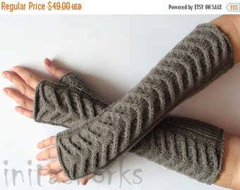 """Fingerless Gloves Long Gray Brown 14"""" Mittens Arm Warmers, Acrylic Wool"""