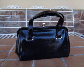 Vintage women's handbag vinyl patent leather black MOD 1960's retro punk accessories