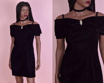 90s Deadstock Black Velvet Dress/ US 7/ 1990s/ Evening/ Prom/ Party Dress