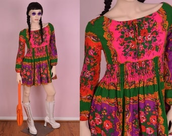 60s 70s Floral Babydoll Mini Dress/ Medium/ 1960s/ 1970s/ Festival/ Printed