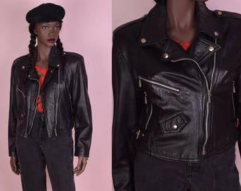 90s Black Leather Moto Jacket/ Small/ 1990s/ Biker/ Motorcycle