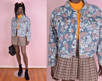 90s Floral Print Cropped Denim Jacket/ Large/ 1990s