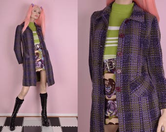 90s Purple and Green Boucle Plaid Coat/ Small/ 1990s/ Jacket