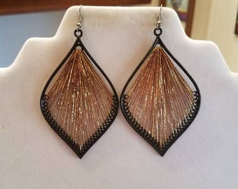 Metallic Gold and Brown Leaf Orament Thread Earrings, Bohemian, Native, Hippie, Great Gift, Ready to Ship